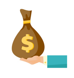 businessman hand holding a money bag vector image