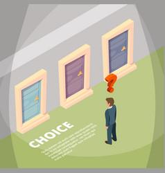 businessman standing front three closed doors vector image