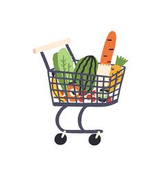 Cartoon trolley with healthy food flat vector