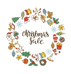 Christmas sale background with flat icons vector