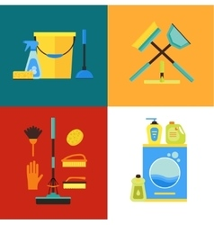 Cleaning Kit Set Flat Design Style vector image