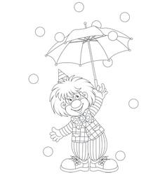 Clown with an umbrella vector image