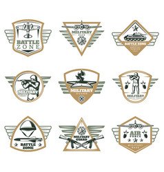 Colored vintage military emblems set vector