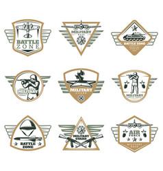 colored vintage military emblems set vector image