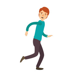 Colorful image caricature full body guy with vector