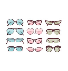 Colorful sunglasses set spectacles plastic vector