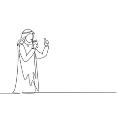 Continuous one line drawing young arabian man vector