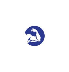 Creative bodybuilding bicep logo symbol vector