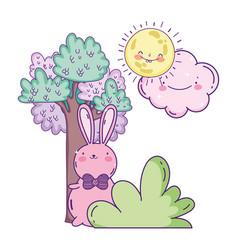 cute rabbit with bow tie bush tree sun cloud vector image