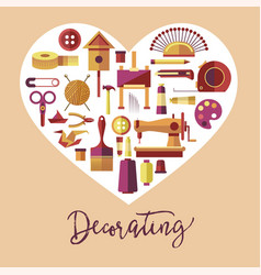 decorating art and handicraft hobby poster vector image