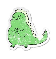 distressed sticker of a cartoon dinosaur vector image