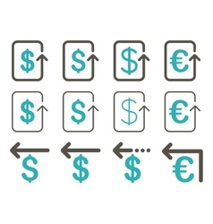 Dollar And Euro Refund Flat Icon Set vector image