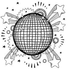 Doodle pop disco ball vector