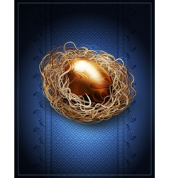 Easter vintage background with a golden egg in the vector