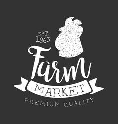 farm market premium quality label with rooster vector image