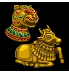 Figures of leopard and Golden calf vector