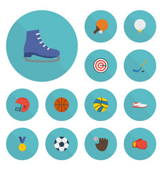 Flat icons golf glove basket and other vector