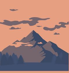 Flat mountain landscape silhouette vector