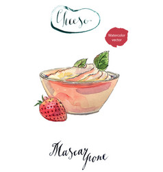 Fresh homemade cheese mascarpone in a bowl vector