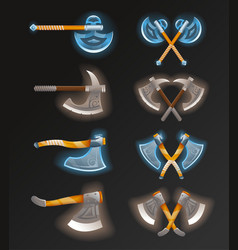 game element set with crossed axes vector image
