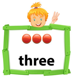 Girl with number three banner vector