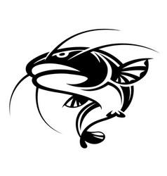 Graphic black catfish on white background vector