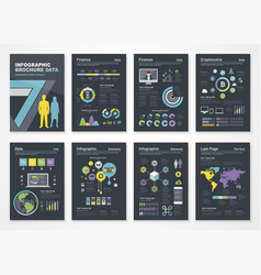 Group of financial and graphic dark sheets vector