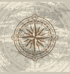 grunge background with compass rose vector image