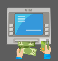 Hand inserting credit card into grey atm vector