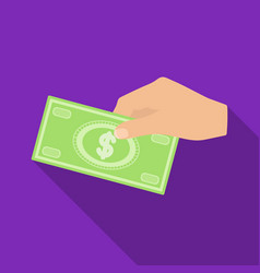 hands giving money icon in flate style isolated on vector image