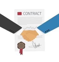 Handshake on a background of the contract vector image