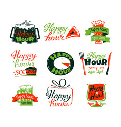 happy hour icons set discount special offer vector image