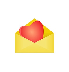 heart in opened envelope vector image