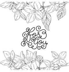 Holiday gift card with hand lettering for you and vector