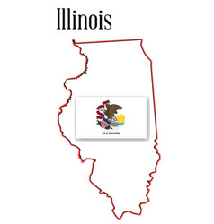 Illinois state map and flag vector