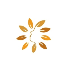 Isolated abstract orange color floral logo Round vector