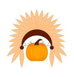 isolated pumpkin with indian hat thanksgiving vector image