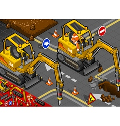 Isometric mini chisel excavator in front view vector