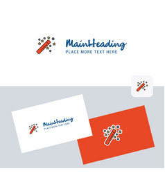 magic stick logotype with business card template vector image