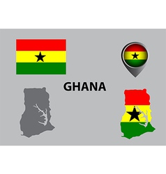 Map of Ghana and symbol vector image
