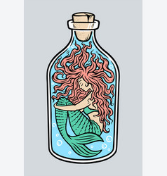 mermaid in bottle vector image