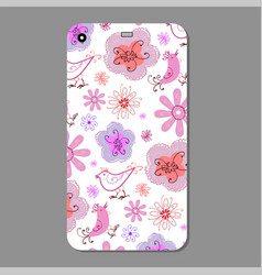 mobile phone case design flower silhouettes vector image