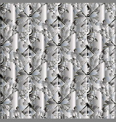 Modern floral seamless pattern abstract silver vector
