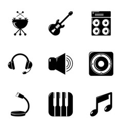 music equipment icons set simple style vector image