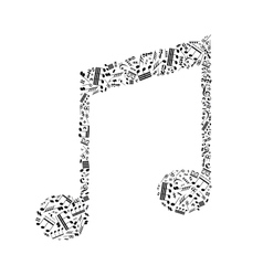 Music note sign made up from a lot of little black vector