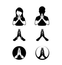Namaste icon set vector