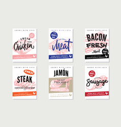 natural meat promotional posters vector image