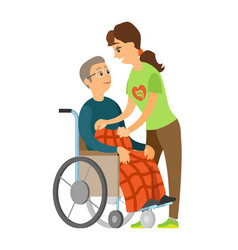 old man in wheelchair senior and woman vector image