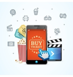 Online Ticket Cinema with Mobile App vector image