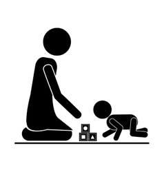 pictogram mom playing baby with cubes vector image